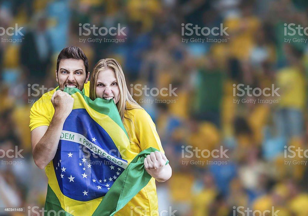 Brazilian fans celebrate on the stadium royalty-free stock photo