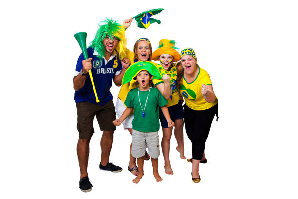 Brazilian fans cheering on stock photo