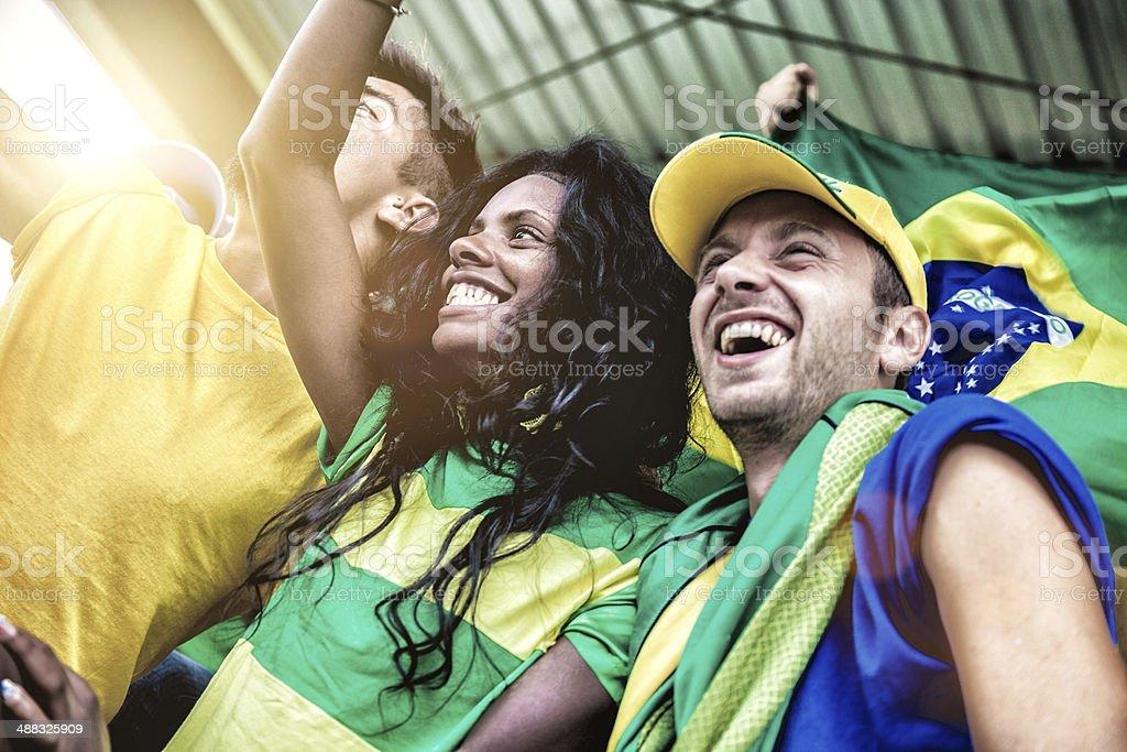 Fãs brasileiros durante um jogo de futebol - foto de acervo