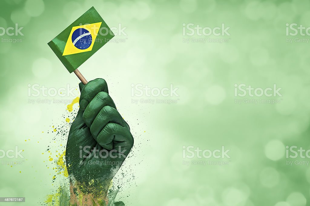 Brazilian fans patriot stock photo