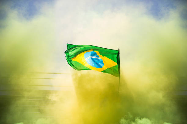 Brazilian fans watching and supporting their team at world competition football league stock photo