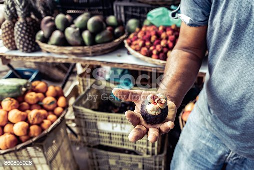istock brazilian farmer holding mangosteen fruit in his hand 860805026