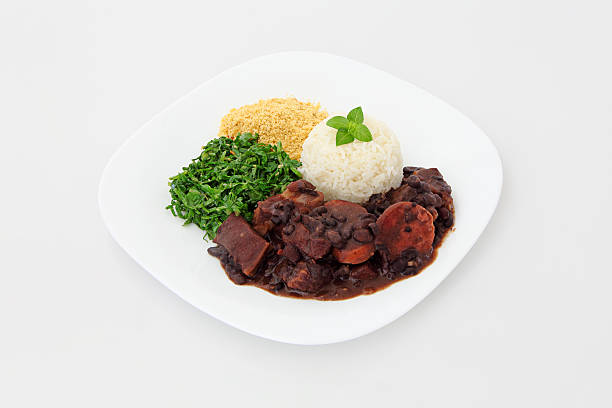 Brazilian Feijoada on a plate stock photo