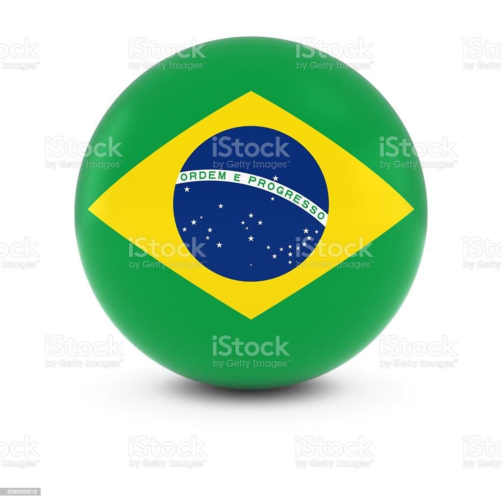 Bandeira Brasileira bola de bandeira do Brasil na esfera de isolamento - foto de acervo