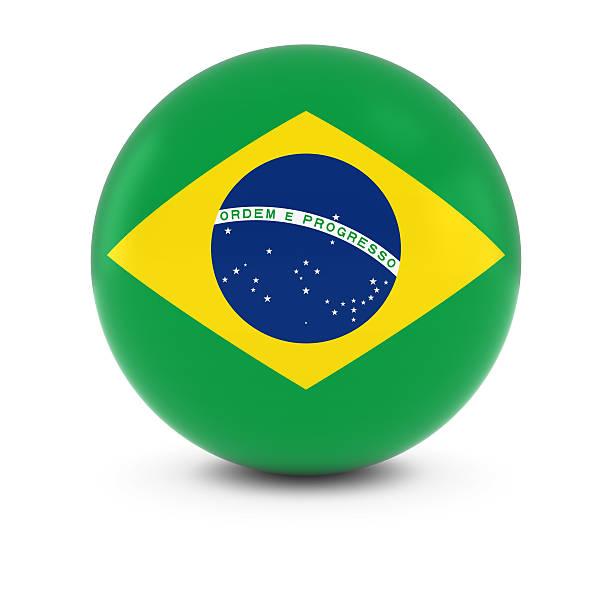 Cтоковое фото Бразильский флаг мяч флаг Бразилии на изолированных сфере