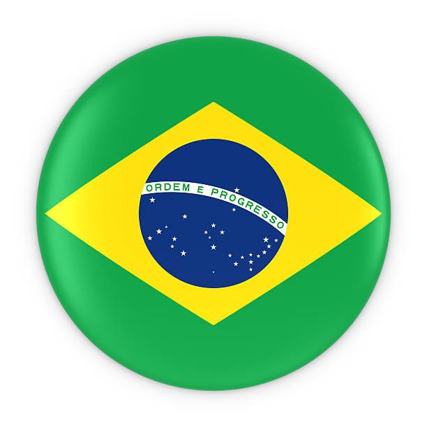 Brazilian Flag Button - Flag of Brazil Badge 3D Illustration stock photo