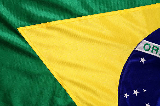 brazilian flag in green and yellow - brasilien flagga bildbanksfoton och bilder