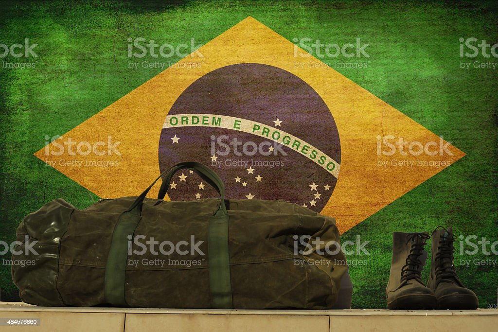 Brazilian flag, military Concept stock photo