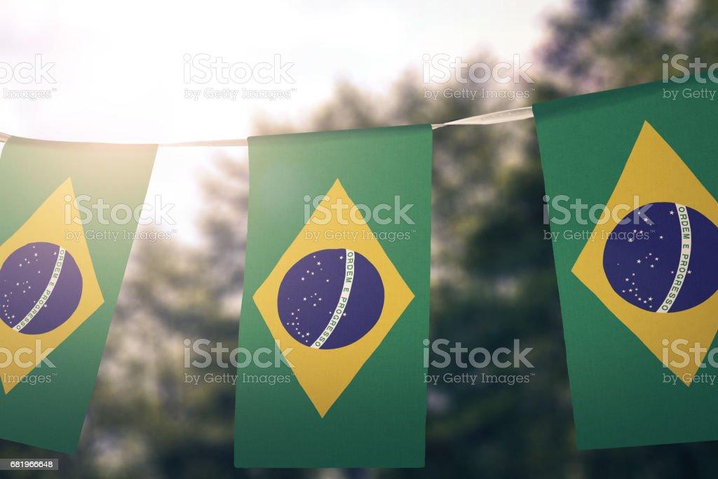 Brazilian Flag pennant stock photo