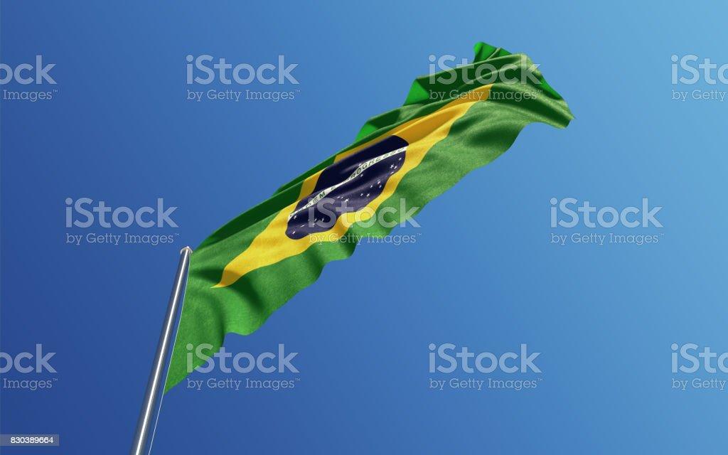 Brazilian Flag Waving With Wind On Blue Sky stock photo