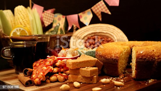istock Brazilian food for June feast. Festa Junina treats on decorated table. 971508166