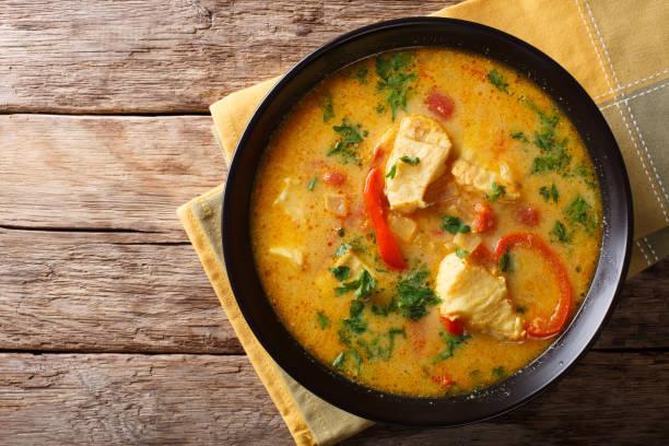 comida brasileira: moqueca baiana de peixe e pimentões em close-up de molho picante de coco num prato. vista superior horizontal - caril - fotografias e filmes do acervo