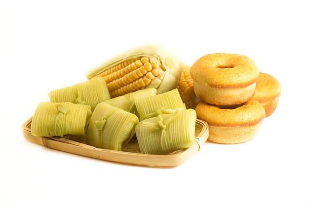Brazilian food Pamonha and Fuba cake stock photo