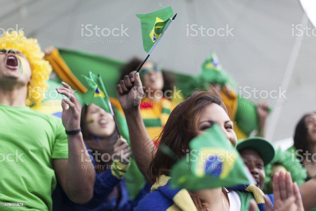 Os fãs do futebol brasileiro gritando e gritando. - foto de acervo