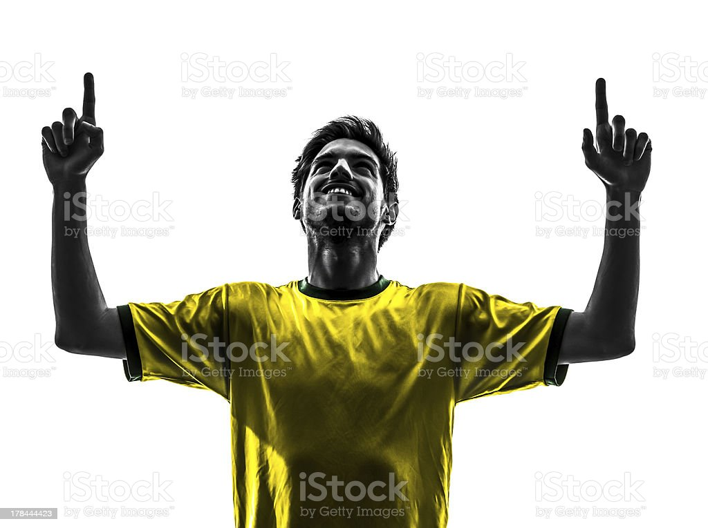 Brazilian football player silhouette on white background royalty-free stock photo