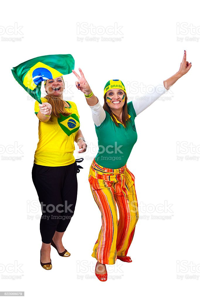 Brazilian girls fans celebrating stock photo