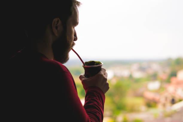 homem brasileiro, beber a bebida típica do gaúcho - rio grande do sul - fotografias e filmes do acervo