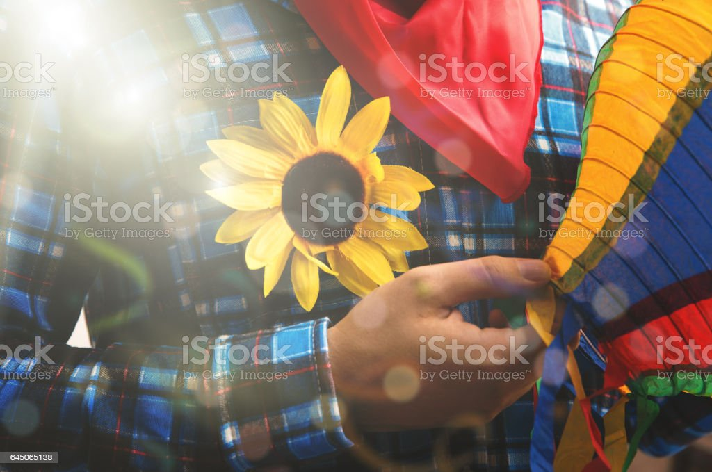 Brazilian man on Junina Party costume - foto de acervo