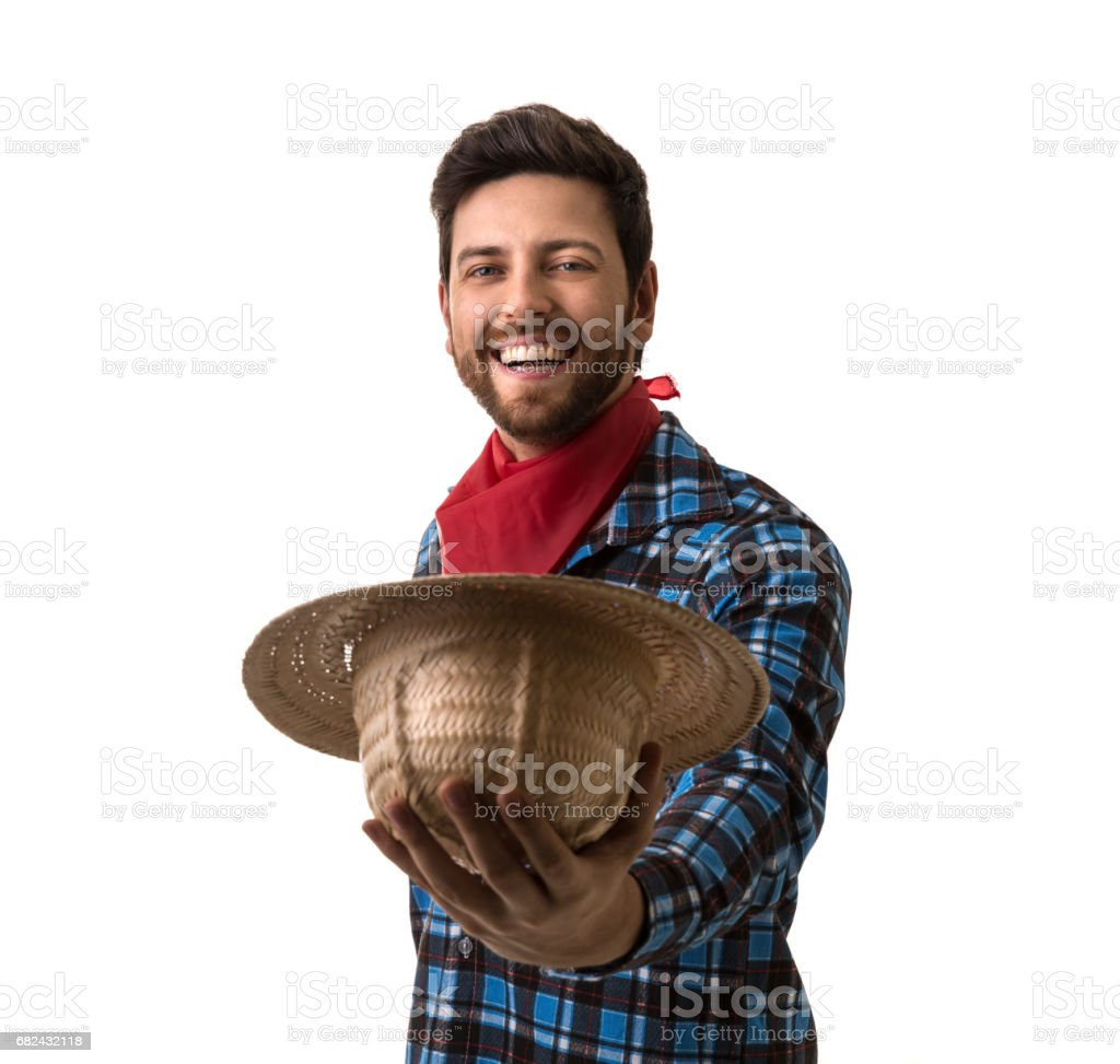 Brazilian man on Junina Party costume royalty-free stock photo