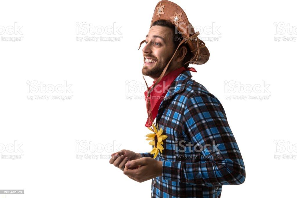 Homme brésilien sur Junina soirée costume photo libre de droits