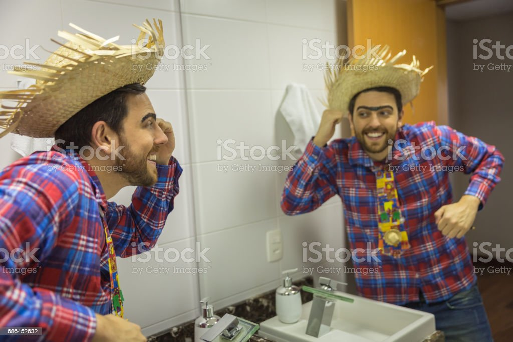Brazilian Man Wearing Clothes Costume For Junina Party Dances In The - Party in the bathroom