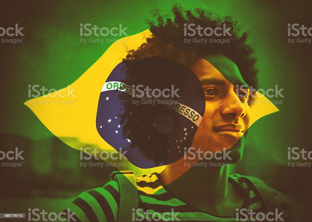 brazilian man with flag stock photo
