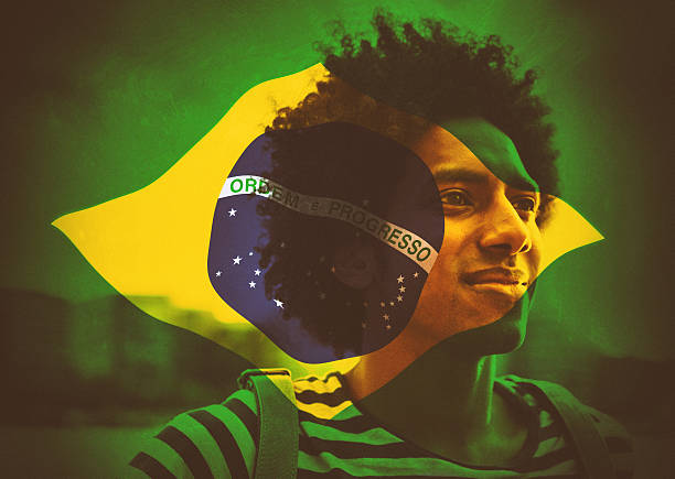 brazilian man with flag stock photo