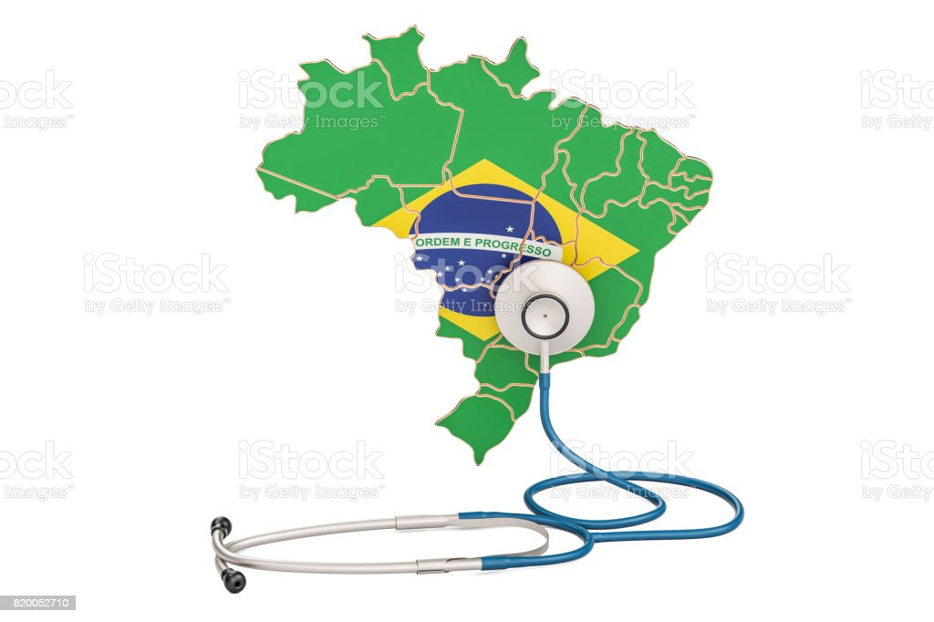 Brazilian map with stethoscope, national health care concept, 3D rendering - fotografia de stock