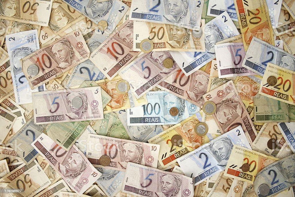 Brazilian money background stock photo