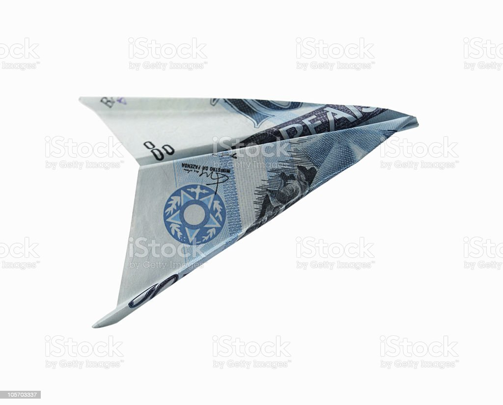 Brazilian Money - Figure of a plane royalty-free stock photo