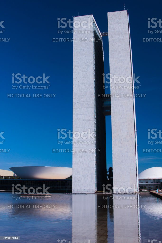 Brazilian National Congress against blue sky. stock photo