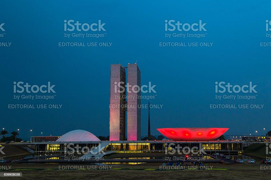 Brazilian National Congress in Brasilia at night, Brazil stock photo