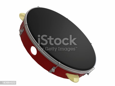 Brazilian instrument - Pandeiro (or tambourine). High resolution and isolated background.