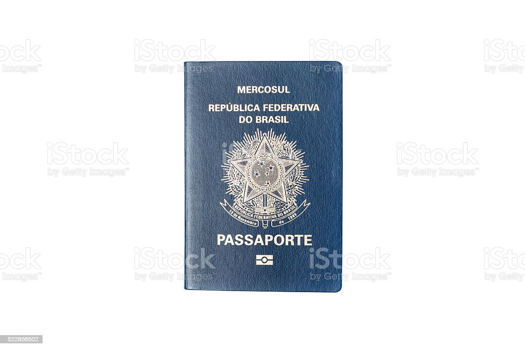 brazilian passport isolated on white background stock photo