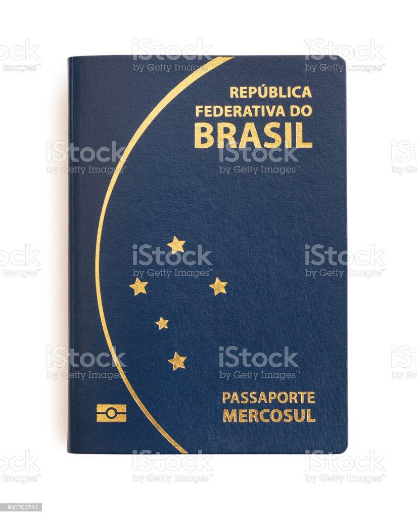 Brazilian passport on white background. stock photo
