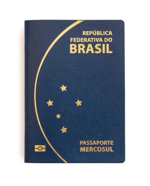 Brazilian passport on white background. Important document for trips abroad. brazilian culture stock pictures, royalty-free photos & images