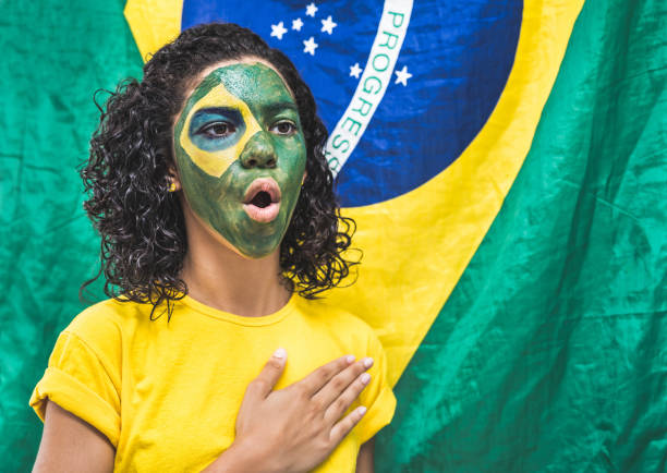 brazilian people - national anthem stock photos and pictures