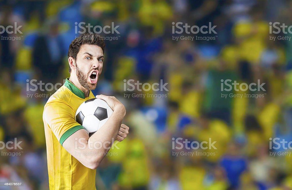 Jogador brasileiro comemorar no estádio - foto de acervo