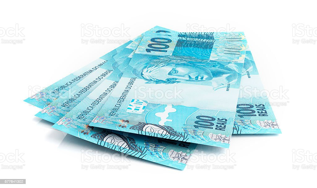Brazilian real banknotes stock photo