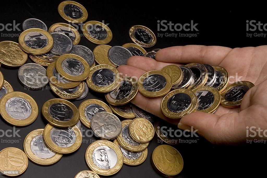 Brazilian real coins royaltyfri bildbanksbilder