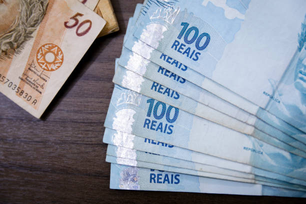 Brazilian Real notes - Money from Brazil - Notes of Real - Brazil BRL banknote stock photo