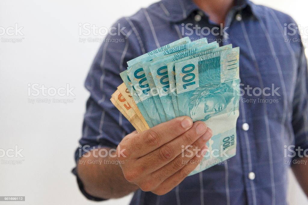 Brazilian real notes stock photo