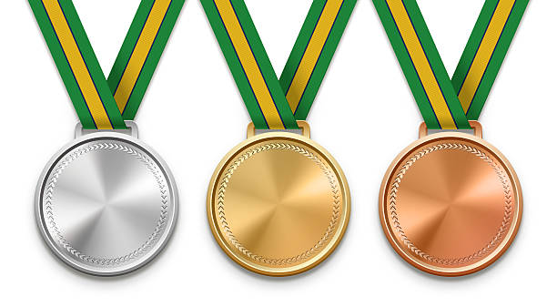 Brazilian Ribbon Medals Three winning medals with Brazilian flag ribbon. medal stock pictures, royalty-free photos & images