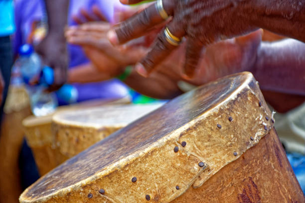 Brazilian rustic ethnic drums players in religious festival stock photo