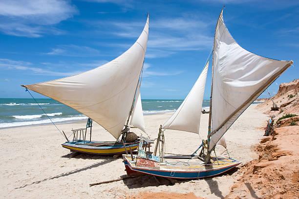 Brazilian Sail Boats in Ceara stock photo