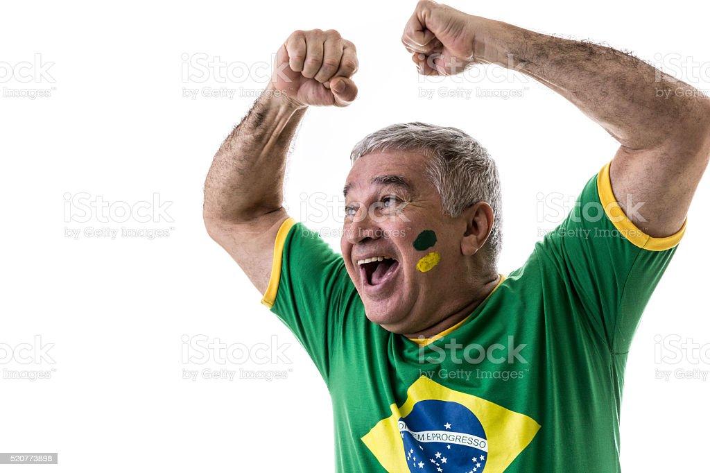Brasileiro fan idosos comemorando no fundo branco - foto de acervo