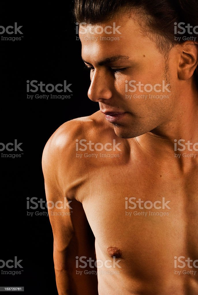 Brazilian Shirtless Male Fitness Model stock photo