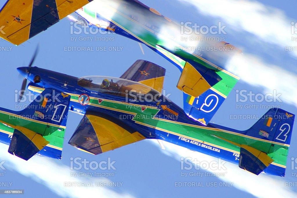 Brasileiro fumaça Squadron Esquadrilha da Fumaca T-27 Tucanos em ação foto royalty-free
