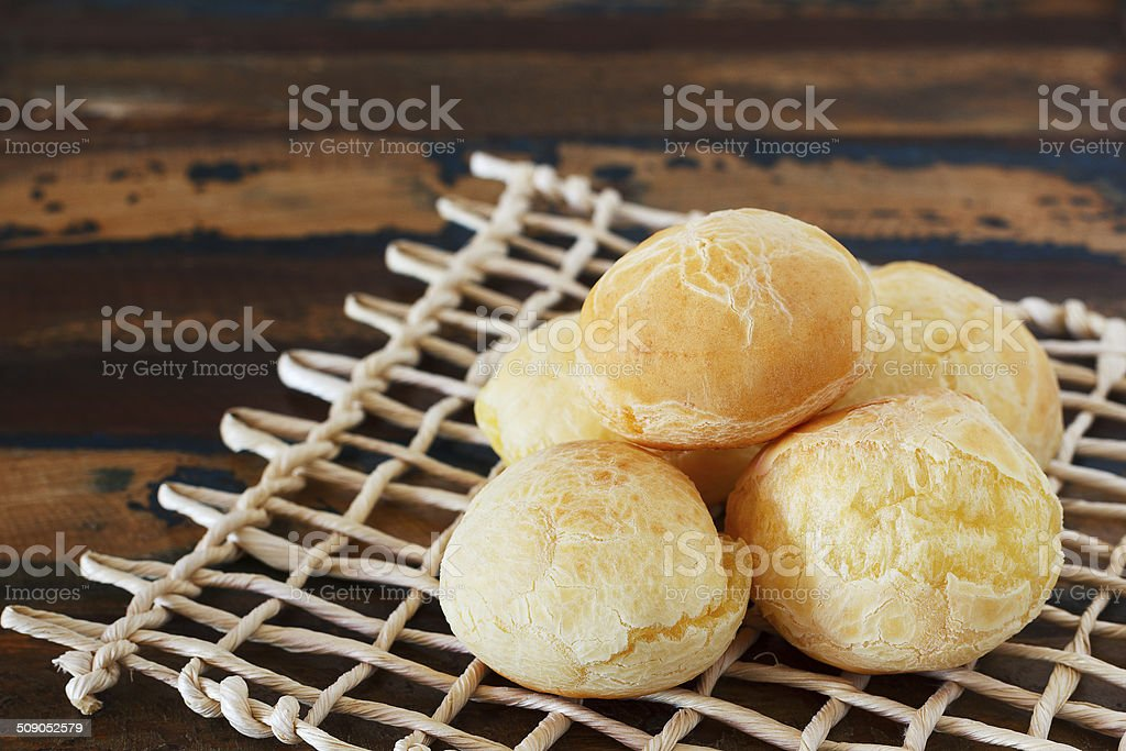 Brazilian Snack Cheese Bread On Wooden Table Stock Photo