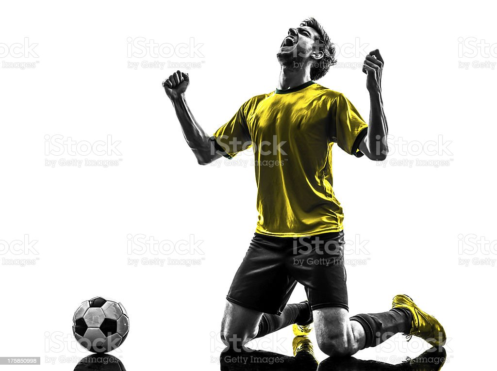 brazilian soccer football player young happiness joy kneeling ma stock photo